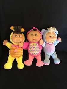 Cabbage Patch Kids 3 Animals Dressed As Blue Bear, Yellow Bee, Pink Bird.