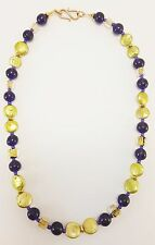 "Golden Pearl and Vintage Purple Glass Bead Necklace Beaded Bohemian Boho 19"" J03"