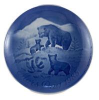 MOTHER'S DAY 1985 Plate Mors Dag Bing & Grondahl Bear With Cubs Denmark Blue