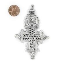 Silver Ethiopian Coptic Cross Pendant 90x57mm African White Metal Large Hole