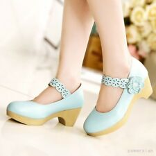 Vintage Korean Women Mary Janes Pumps Hollow Out Floral Block Heels Casual Shoes