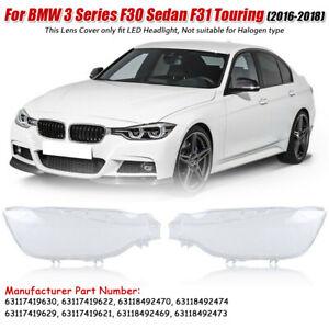 Pair LED Headlight Headlamp Lens Cover For BMW 3 Series F30 Sedan F31 2016-2018