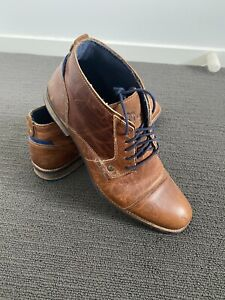 Men's Wild Rhino Tan Digby Leather Boots Shoes Casual Boots Ankle - Size 44