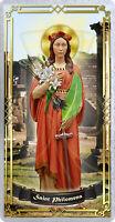 Saint St Philomena, Italy laminated Prayer card. Saint Philomena Statue Art.