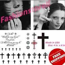 Halloween Anti Supernatural Christian Fake Cross Religious Temporary Tattoo