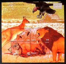 2000 MNH LIBERIA WILD ANIMAL STAMPS SHEET GRASSLAND ANIMALS LION KANGAROO NATURE