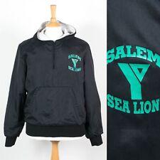 MENS VINTAGE USA NYLON JACKET PULL OVER HOODIE YMCA SALEM SEA LIONS 80'S S