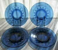 """Tiara Indiana Glass 4 Imperial Blue Kings Crown 10 1/2"""" Dinner Plates"""