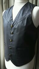 Leather Waistcoat Black Western Biker Celtic Knot Buttons  - Medium