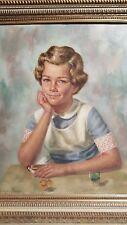 SUPERB ORIGINAL OIL BY GEORGE PALMER  ILLUSTRATION ART GIRL POSING FRAMED
