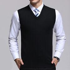 Knitwear Knitted Warm Men's Waistcoats Sweater Plain Vest Sleeveless Cardigan