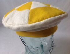 Vintage Yellow and White Felt Beret Funky Retro USA Made