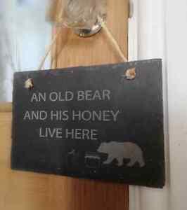 An old bear & his honey - Slate sign