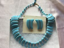 Vintage Thermoset Plastic Light Blue Necklace and Earrings Germany Signed