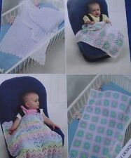 CROCHET PATTERN - 2 styles de bébé Châles/Couvertures & LANDAU couvre en DK
