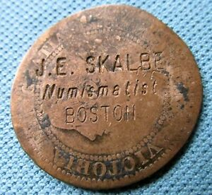 Counterstamp J E Skalbe Numismatist Boston on an 1859 Canada Large Cent Victoria