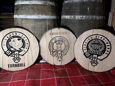 """Scottish Clan Badge Carved into Solid 21"""" Oak Whisky Barrel Lid x 3"""