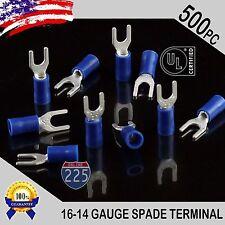 500 Pack 16 14 Gauge Vinyl Spade Fork Crimp Terminals 8 Stud Tin Copper Core Ul