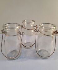 Rustic Hanging Small Glass Bottles x 3