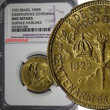 Brazil 1922 500 Reis NGC UNC DETAIL Independence Centennial 1 YEAR TYPE KM#522.1