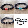 New Unisex Lava Rock Stone Turquoise Cross Beaded Elastic Bracelet Yoga Jewelry
