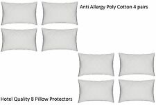 Luxury 8 Quilted Pillow Protectors Protector Poly Cotton Hotel Quality 4 Pairs
