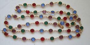 """Vintage SWAROVSKI Swan Logo Multi-Color Gold T. Bezel Set Crystal Necklace 32""""L"""