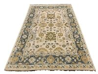6X9 Oushak Area Rug Ivory Hand-Knotted Wool Oriental Carpet (5.11 x 8.10)