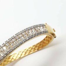 Yellow gold finish wavy design emerald cut created diamond  chunky bangle boxed