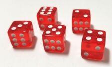 (5) 16mm Red Transparent D6 Standard Gaming Dice Set Lot, 6 Sided RPG D&D