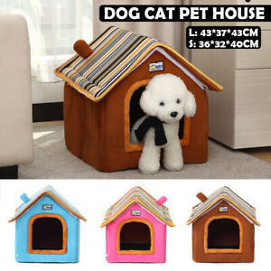 Foldable Soft Medium House Pet Bed Tent Igloo Warm Cosy Cave Cat Puppy Dog Brown