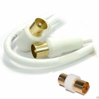 1m RF Right Angle TV Aerial Freeview Plug Video Cable & Coupler [006054]