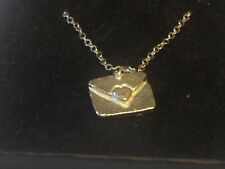 "Love Letter TG303 Pewter On 24"" Silver Plated Curb Necklace"
