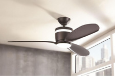 "48"" Small LED Ceiling Fan Airplane Matte + Remote Industrial Dual Office Light"