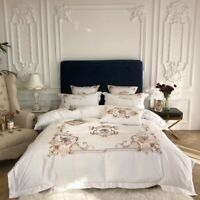 Chic Embroidery Luxury Duvet Cover Bed Sheet Rich Silky Cotton 4pc Bedding Set