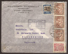 COLOMBIA. 1939. AIR MAIL COVER PASTO TO MANCHESTER. CALI TRANSIT. FRANCISCO HAEB