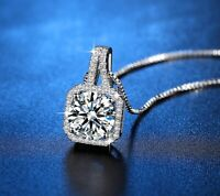 Crystal Square Stone Pendant 925 Sterling Silver Chain Necklace Womens Jewellery
