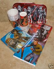 """STAR WARS Rebels Party Pack for 16: 7"""" Plates/Cups/Tablecover/Napkins"""