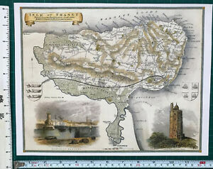 Old Antique Victorian map Isle of Thanet, Kent, England: c1830's: Moule: Reprint