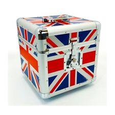 "NEW Premium UNION JACK 12"" Record LP Vinyl Carry Case Storage Box HOLDS 100"