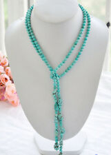 real 6mm round turquoise /blue baroque bead necklace50""