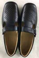 Hotter Comfort Concepts Sunset Strap Black Leather Wedge Heel Loafers Size 10 US