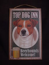 Top Dog Inn Welcome Jack Russell 10 x 16 Beer Hound Sign wood Wall Plaque puppy