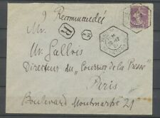 1907 Env. 35c violet obl grand càd hexagonal Paris 16/AV VICTOR HUGO, LR X4827