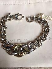 David Yurman 18k Yellow Gold & .925 Silver Oval Cable Link Bracelet