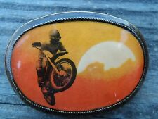 Vintage USA Pacifica Belt Buckle Desert Dirt Bike Motorcycle On Any Sunday 1976