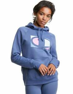 Champion Women's Athletics Powerblend Fleece Hoodie, Colorblock Knockout C Logo
