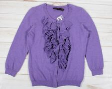 The Limited Purple Ruffled Cardigan Sweater Size S