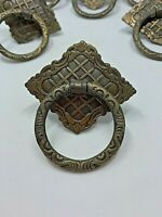 Victorian ring pull handles ORNATE lot of 8 Brass Antique Salvage 1 screw mount