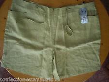 pantalon lino verde chica Talla 54 NUEVO ropa mujer short woman